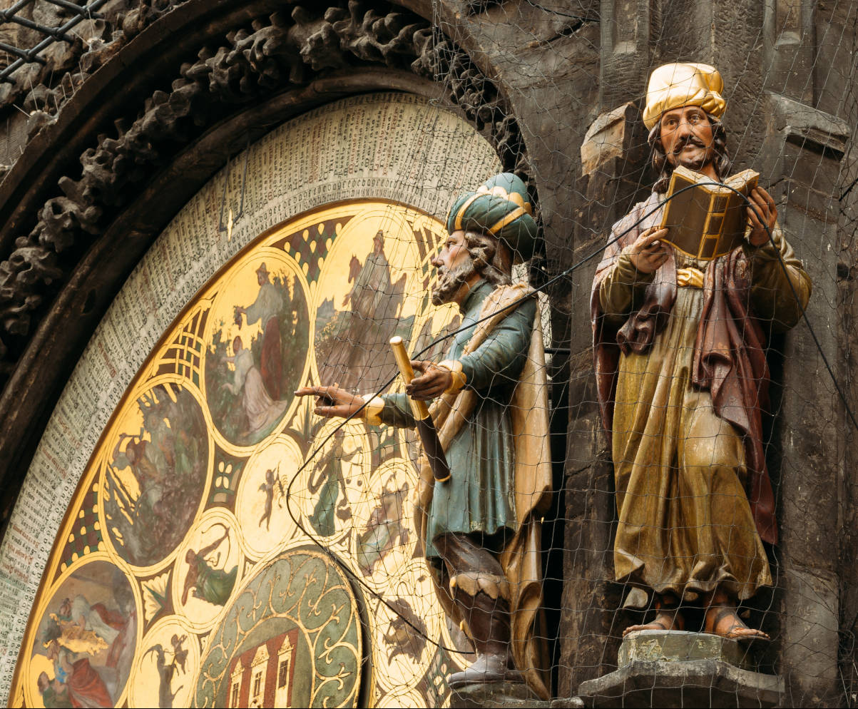 Astronomical Clock with the philosophers in Prague
